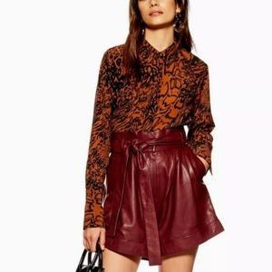 Topshop lamb leather high waisted burgundy shorts